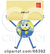 Royalty Free RF Clipart Illustration Of A Global Character Holding An Email Envelope by Prawny