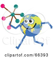 Royalty Free RF Clipart Illustration Of A Global Character Holding A Molecule by Prawny