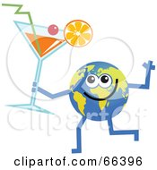 Royalty Free RF Clipart Illustration Of A Global Character Holding A Cocktail by Prawny