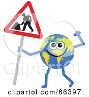 Royalty Free RF Clipart Illustration Of A Global Character Holding A Maintenance Sign by Prawny