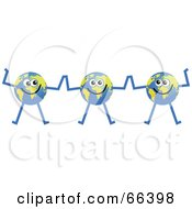 Royalty Free RF Clipart Illustration Of A Global Character Team Of Three by Prawny