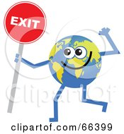 Royalty Free RF Clipart Illustration Of A Global Character Holding An Exit Sign by Prawny