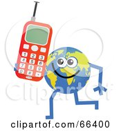 Royalty Free RF Clipart Illustration Of A Global Character Holding A Cell Phone by Prawny