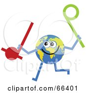 Royalty Free RF Clipart Illustration Of A Global Character Holding Music Notes by Prawny