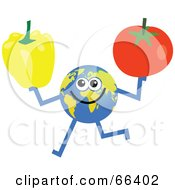 Royalty Free RF Clipart Illustration Of A Global Character Holding A Bell Pepper And Tomato by Prawny
