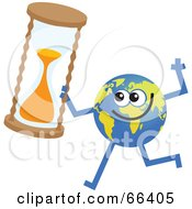 Royalty Free RF Clipart Illustration Of A Global Character Holding An Hour Glass by Prawny