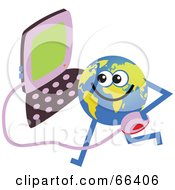 Royalty Free RF Clipart Illustration Of A Global Character Holding A Computer by Prawny