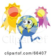 Royalty Free RF Clipart Illustration Of A Global Character Holding Award Ribbons by Prawny