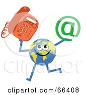 Royalty Free RF Clipart Illustration Of A Global Character Holding A Phone And At Symbol by Prawny