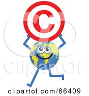 Royalty Free RF Clipart Illustration Of A Global Character Holding A Copyright Symbol by Prawny