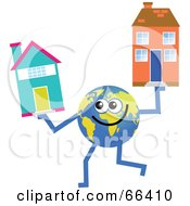 Royalty Free RF Clipart Illustration Of A Global Character Holding Houses by Prawny