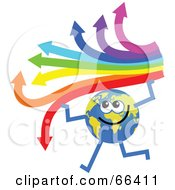 Royalty Free RF Clipart Illustration Of A Global Character Holding An Arrow Rainbow by Prawny