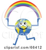 Royalty Free RF Clipart Illustration Of A Global Character Holding A Rainbow by Prawny