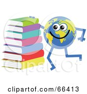 Royalty Free RF Clipart Illustration Of A Global Character With A Stack Of Books by Prawny