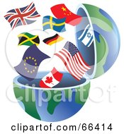 Royalty Free RF Clipart Illustration Of An Open Globe With International Flags