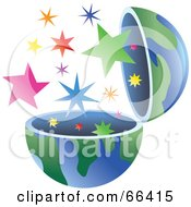 Royalty Free RF Clipart Illustration Of An Open Globe With Stars by Prawny
