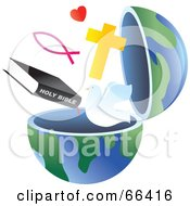 Royalty Free RF Clipart Illustration Of An Open Globe With Christian Symbols by Prawny #COLLC66416-0089