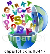 Royalty Free RF Clipart Illustration Of An Open Globe With Alphabet Letters by Prawny #COLLC66417-0089
