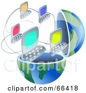 Royalty Free RF Clipart Illustration Of An Open Globe With Networked Computers