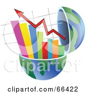 Royalty Free RF Clipart Illustration Of An Open Globe With A Bar Graph by Prawny