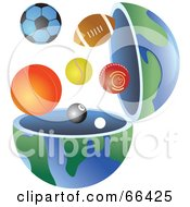 Royalty Free RF Clipart Illustration Of An Open Globe With Sports Balls by Prawny