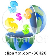 Royalty Free RF Clipart Illustration Of An Open Globe With Dollar Symbols by Prawny