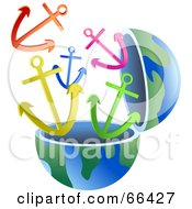 Royalty Free RF Clipart Illustration Of An Open Globe With Anchors by Prawny