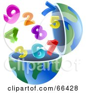 Royalty Free RF Clipart Illustration Of An Open Globe With Numbers by Prawny
