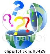 Royalty Free RF Clipart Illustration Of An Open Globe With Question Marks by Prawny