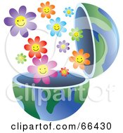 Royalty Free RF Clipart Illustration Of An Open Globe With Flowers by Prawny