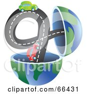 Royalty Free RF Clipart Illustration Of An Open Globe With Cars On A Road by Prawny