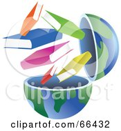 Royalty Free RF Clipart Illustration Of An Open Globe With Books