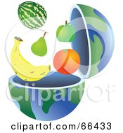 Royalty Free RF Clipart Illustration Of An Open Globe With Healthy Fruit by Prawny