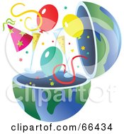 Royalty Free RF Clipart Illustration Of An Open Globe With Party Items by Prawny
