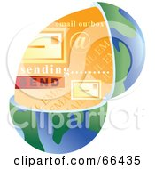 Royalty Free RF Clipart Illustration Of An Open Globe With Email by Prawny