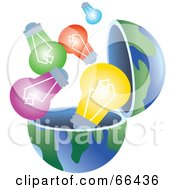 Royalty Free RF Clipart Illustration Of An Open Globe With Light Bulbs by Prawny