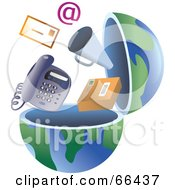 Royalty Free RF Clipart Illustration Of An Open Globe With Communication Items by Prawny