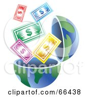 Royalty Free RF Clipart Illustration Of An Open Globe With Cash by Prawny