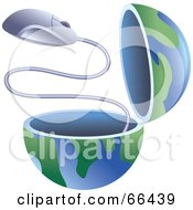 Royalty Free RF Clipart Illustration Of An Open Globe With A Computer Mouse by Prawny