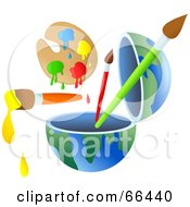 Royalty Free RF Clipart Illustration Of An Open Globe With Paint And Brushes by Prawny
