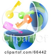 Royalty Free RF Clipart Illustration Of An Open Globe With Keys by Prawny