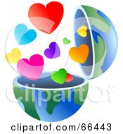 Royalty Free RF Clipart Illustration Of An Open Globe With Hearts by Prawny