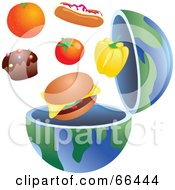 Royalty Free RF Clipart Illustration Of An Open Globe With Junk Food by Prawny