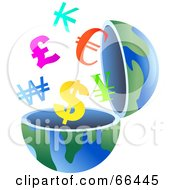 Royalty Free RF Clipart Illustration Of An Open Globe With Currency Symbols by Prawny