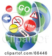 Royalty Free RF Clipart Illustration Of An Open Globe With Signs by Prawny
