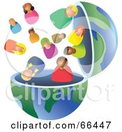 Royalty Free RF Clipart Illustration Of An Open Globe With Diverse People by Prawny