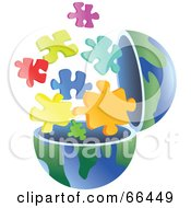 Royalty Free RF Clipart Illustration Of An Open Globe With Puzzle Pieces by Prawny