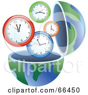 Royalty Free RF Clipart Illustration Of An Open Globe With Clocks by Prawny