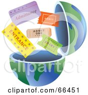 Royalty Free RF Clipart Illustration Of An Open Globe With Tickets