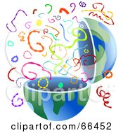 Royalty Free RF Clipart Illustration Of An Open Globe With Colorful Confetti by Prawny